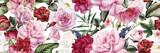 Fototapeta Kwiaty - Seamless floral pattern with flowers, watercolor.