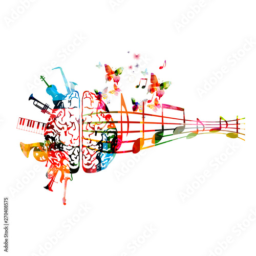 Plakaty Gatunki Muzyczne   colorful-human-brain-with-music-notes-and-instruments-isolated-vector-illustration-design-artistic-music-festival-poster-live-concert-events-party-flyer