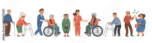 Elderly people and social workers. Grandparents and nurses on a white background. Vector illustration in a flat style.