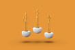 Leinwanddruck Bild - Three toy man of orange color on a sports abstract pedestal. Minimal concept: winner, loser. 3D render.