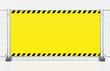 Leinwandbild Motiv Baustelle Absperrung Sicherung - Mobilzaun Bauzaun mit gelben Banner und Warnmarkierung - Platz für Eindruck.02.04.01-Pylone-Plane-Umbau