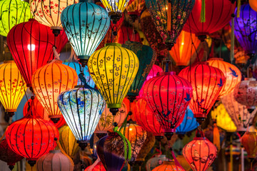 Colorful traditional Chinese lantern or light lamp to decorate street at nigh...