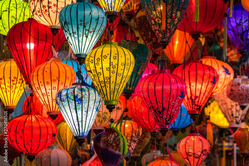 Colorful traditional Chinese lantern or light lamp to decorate street at night, there are famous things of Hoi An - the heritage ancient city of Vietnam Wallpaper Mural