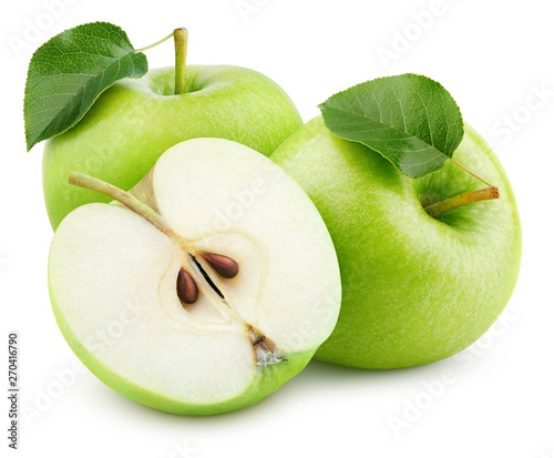 Group of ripe green apple fruits with half and green leaves isolated on white background. Apples with clipping path. Full Depth of Field