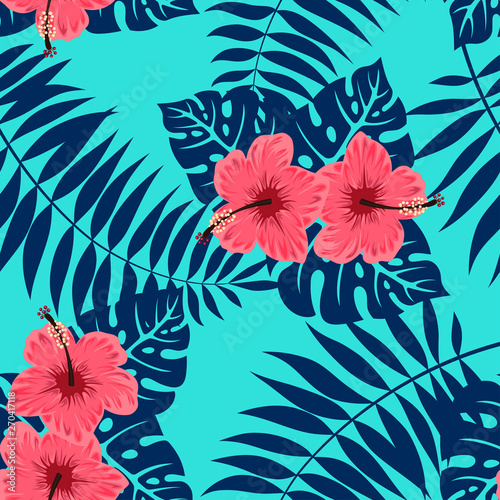 Türaufkleber Künstlich pattern of hibiscus and tropical leaves