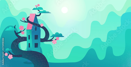 Wall Murals Green coral Nature landscape with mountains, green hills, tall house twisted by tree. Big blooming tree wraps the house. Mountain village panorama. Flat cartoon illustration with textures and gradient