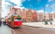 Grudziadz, Poland. Tram at the stop near the Old town.