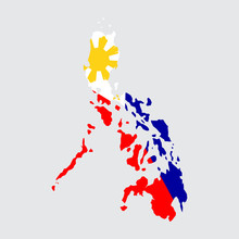 Philippines Map Flag On Grey Background
