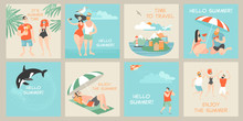Set Of Vector Cards With  Illustrations Of Cute Cartoon Characters Enjoying Summer