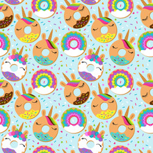 Seamless Vector Background With Unicorn Themed Donuts