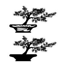 Miniature Bonsai Pine Tree In Traditional Pot - Black And White Vector Silhouette Design Of Asian Style Garden Plant