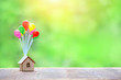 Leinwanddruck Bild - Air balloons and house on abstract nature background. Home model hanging on colorful balloons. plan real estate, Business investment or loan for real estate concept. copy space. banner.