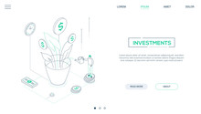 Investments - Line Design Style Isometric Web Banner