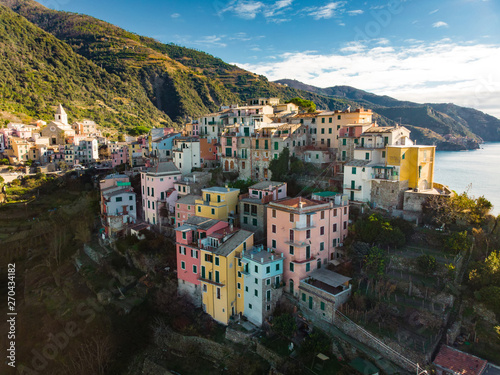 Spoed Fotobehang Zalm Aerial view of Corniglia, nestled in the middle of the five centuries-old villages of Cinque Terre, Italian Riviera, Liguria, Italy.