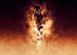 Leinwandbild Motiv woman running on fire background