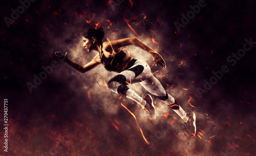 woman running on fire background - 270437751