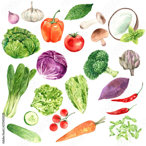 Vegetables for health lovers, watercolor painting