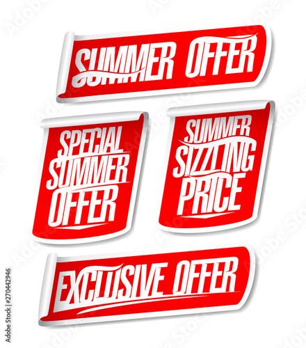 Fotografía  Best summer offers sale stickers set