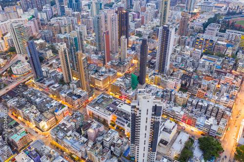Fotografija  Top view of Hong Kong city downtown at night