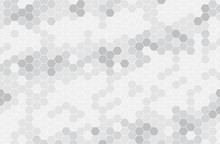 Black And White Hexagon Honeycomb Seamless Pattern. Honey Background, Cell Mosaic.