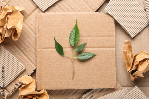 Obraz Flat lay composition with pieces of cardboard and green branch. Recycling problem - fototapety do salonu