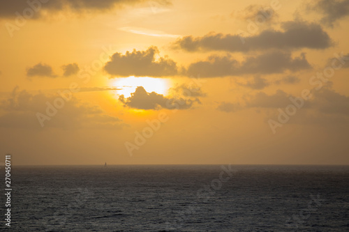 Sunset over Caribbean sea Saint Vincent Antillas Canvas Print