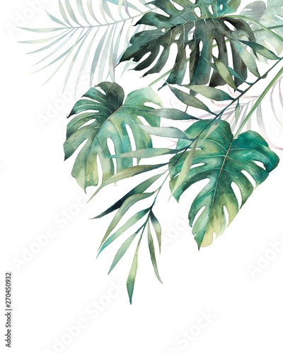 Photo Watercolor tropical leaves poster