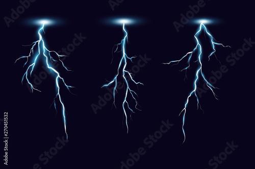 Valokuva  Vector illustration of lightning set in realistic style on dark blue background