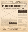 Vector illustration of retro newspaper with old style fonts and vintage effect. Place for pictures and text in vintage newspaper.