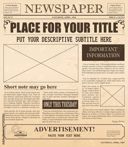Obraz Vector illustration of retro newspaper with old style fonts and vintage effect. Place for pictures and text in vintage newspaper. - fototapety do salonu