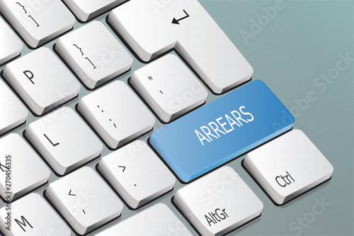 Photo arrears written on the keyboard button