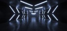 Futuristic Arrow Shaped Neon Lights Glowing Vibrant Blue Corridor Grunge Concrete Dark Reflective Virtual Podium Garage Stage Udnerground Spaceship 3D Rendering