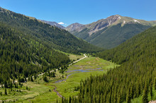 Star Mountain And Meanders Of North Fork Lake Creek In Lake Creek Valley Scenic View (Colorado, USA)