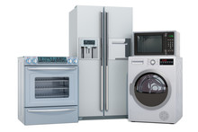 Set Of Silver Kitchen Appliances. Washing Machine, Fridge, Gas Stove, Microwave Oven. 3D Rendering