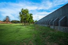 Wall, Flood, Archaeological Site, Rainy Season, Ayutthaya, Thailand, Prevent, Cure, Conservation,