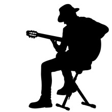 Silhouette Musician Plays The Guitar On A White Background