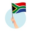 canvas print picture - South Africa flag in hand icon
