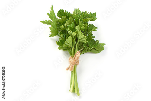 Fresh parsley bunch, top view, isolated on white background Canvas Print