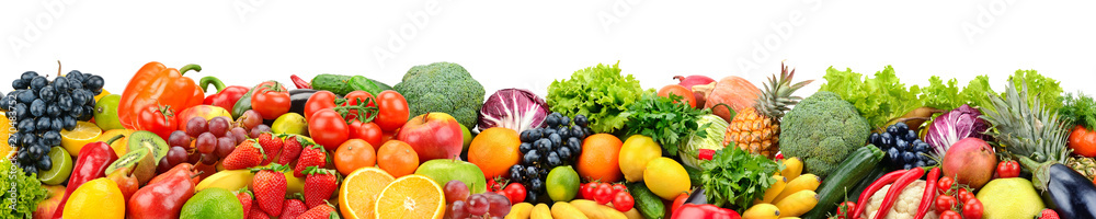 Fototapety, obrazy: Fruits and vegetables isolated on white. Wide panoramic photo for title.