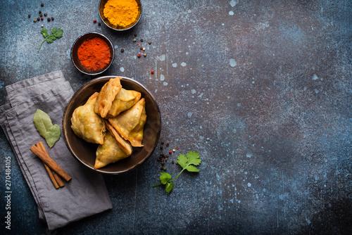 Fotografie, Obraz Indian baked stuffed pastry samosa