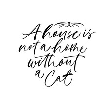 A House Is Not A Home Without A Cat Phrase. Ink Brush Calligraphy.