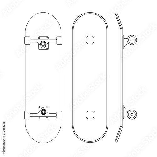 Valokuvatapetti Vector flat cartoon line set of skateboard different sides isolated on white bac
