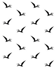 Flying Black Pteranodon Pterodactyl  Vector Silhouette Isolated On White Background Seamless Pattern