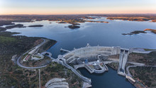 Aerial. View From The Sky Of The Dam On The River Guadiana.