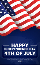 Happy Independence Day Of USA, July 4th. American Flag On Blue Background.