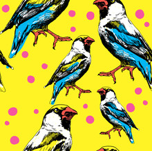 Seamless Pattern With Leaves And Birds . Stylish Freehand Drawing .