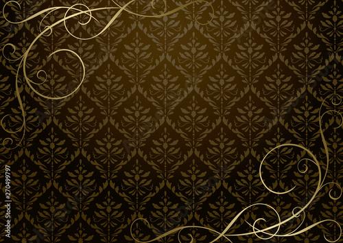 茶色のダマスク柄と金のツタアンティーク背景