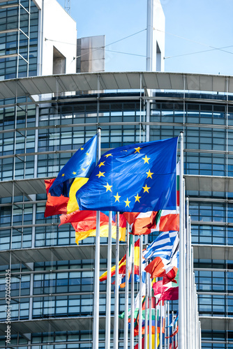 Fotografía  Vertical image flags of all member states of the European Union waving in calm w
