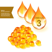 Fish Oil Drops With Omega 3 Supplement 3d Vector Illustration