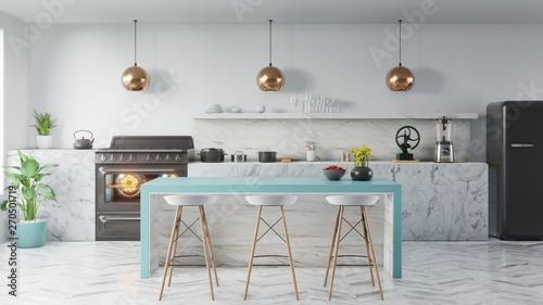Fotografia  kitchen interior concept .3d render